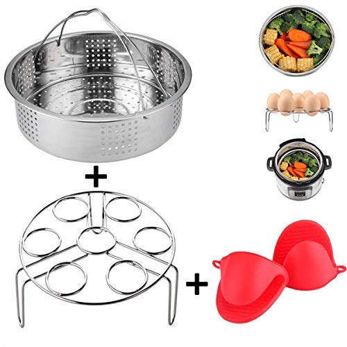3 Pieces Steamer Basket With Egg Steamer Rack Trivet for Instant Pot And Pressure Cooker Accessories, Fits Instant Pot 6, 8 qt, Anti-scald Gloves Free
