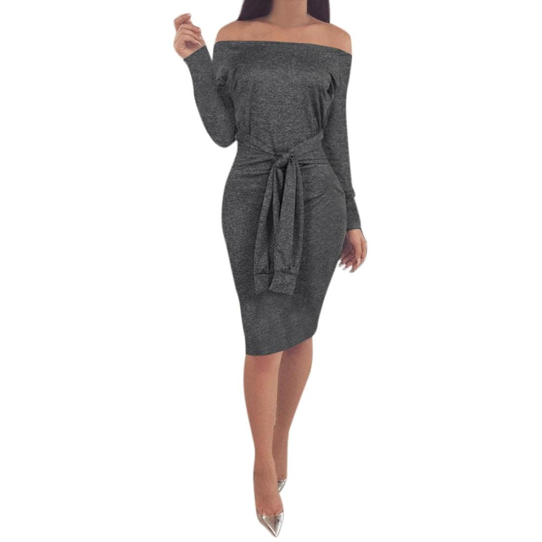 Mikey Store Women Casual Bodycon Dress Off Shoulder Long Sleeve Evening Party Mini Dress (Small, Dark Gray)