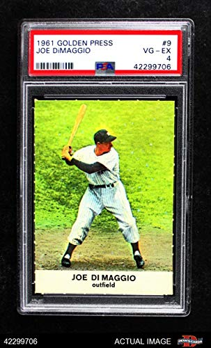 1961 Golden Press # 9 Joe DiMaggio New York Yankees (Baseball Card) PSA 4 - VG/EX - Joe Baseball Dimaggio Cards