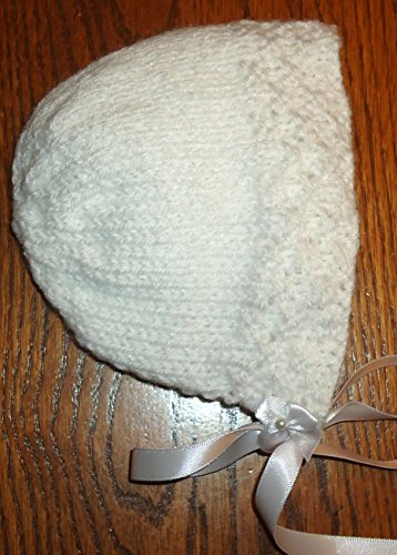 Integrity Designs Heirloom Bonnet for Baptism Christening, White, Hand Knitted, 0-3 month size ()