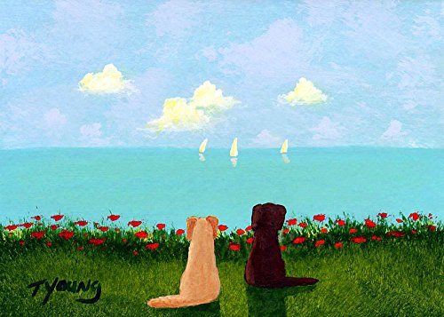 Yellow Chocolate Lab Labrador Retriever Dog Art print by Todd Young AT THE BEACH