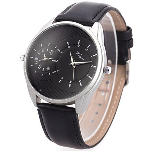 Wrist Watch Mens Dual Zone Double Movement Japanese Quartz SIBOSUN Black Silver Waterproof Leather Analog