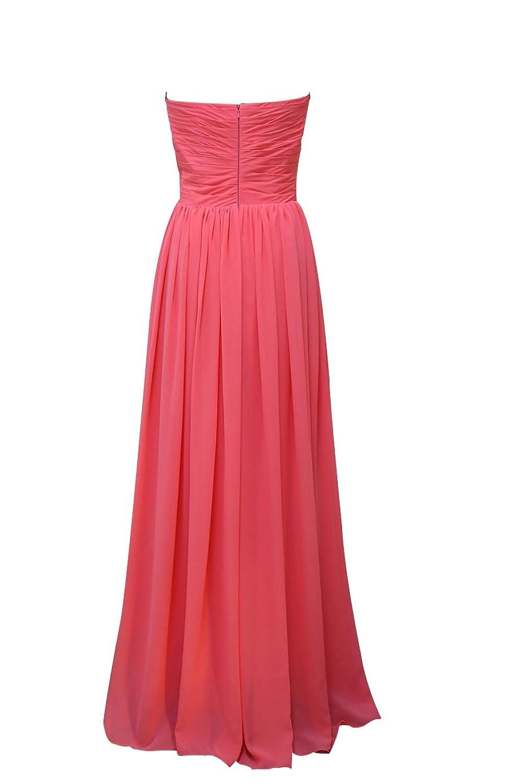 AngelDragon Strapless Beaded Neckline Pleats Chiffon Party Evening Dresses