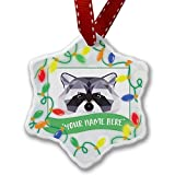 Personalized Name Christmas Ornament, Geometric Animal art Raccoon NEONBLOND
