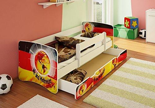 BEST FOR KIDS Kinderbett 80x160 mit Rausfallschutz + Schublade 44 Designs (Wir Sind Weltmeister)