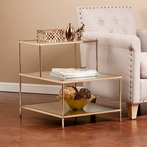 SEI Knox Accent Table, Metallic Gold (Iron Glass Side Table)