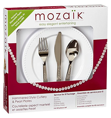 Mozaik Premium Plastic Pearl Service for 8 with Assorted Cutlery, 40 pieces