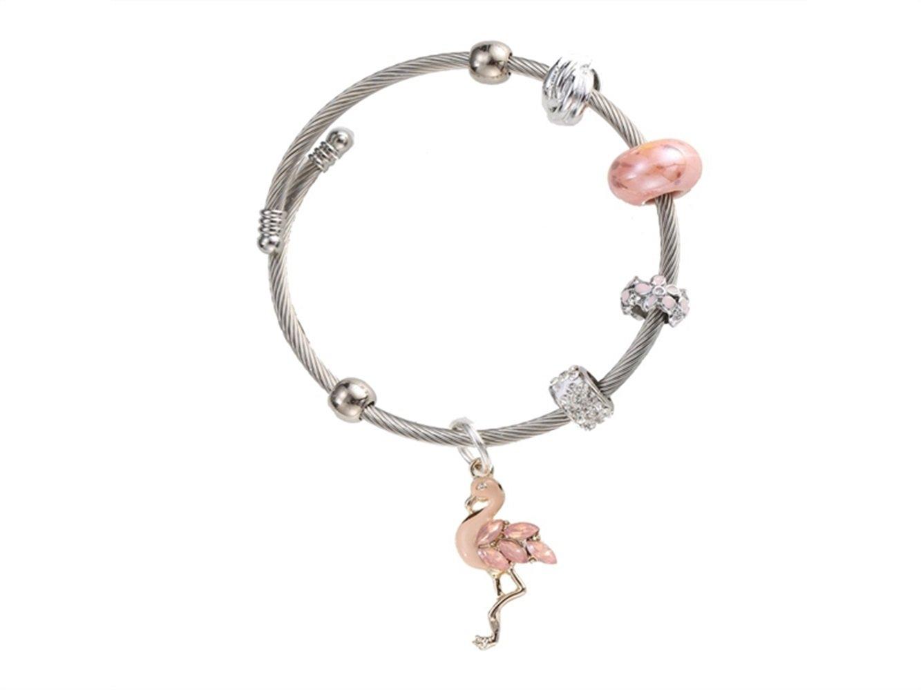 JKHGJUH Alla moda Bracciali gioielli in cristallo fenicotteri creativi Bracciali argento placcati per donne (rosa)