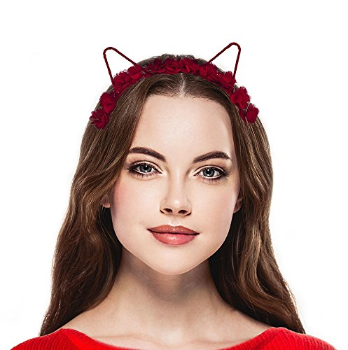 Lux Accessories Red Rose Cat Ear Fabric Flower Crown Headband