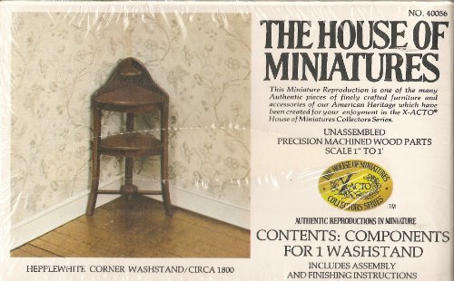 Wood Washstand - Dollhouse Furniture- Hepplewhite Corner Washstand/ Circa 1800 #40056 Assembled (The House of Miniatures)
