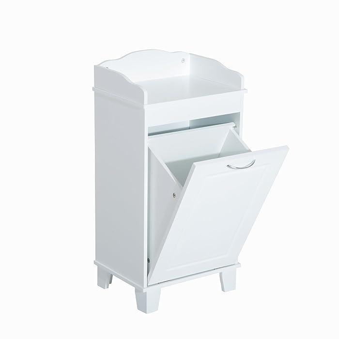 HomCom Wooden Bathroom Laundry Hamper Cabinet - White