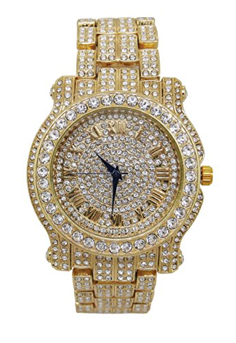 The Ultimate Gold Iced Out Hip Hop Bling Bling Watch - L0504 Gold (Bling Ultimate)