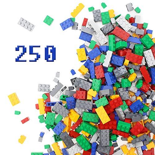 Building Blocks 250 Pieces Set, Building Bricks Creative DIY Interlocking Toy Set Random Colors Mixed Shape ABS Puzzle Construction Toys Set for Kids and Toddlers (250 PCS)
