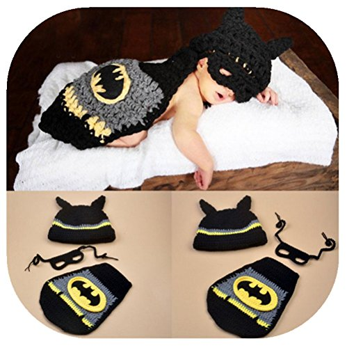 mywaxberry Batman Suit Baby Photography Clothing Unisex-Baby Costume Black -