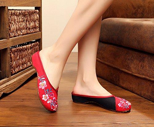 Di Unico Etnico Scarpe Red Vibrazione Stile Ricamate Caduta Sandali Modo Tendine Femminile Ming Comodo Xwd8qw