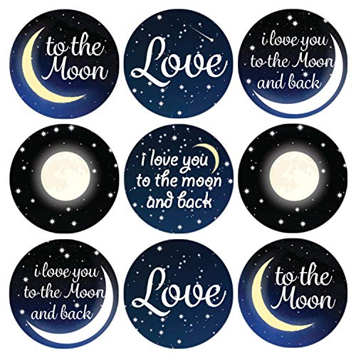 (DISTINCTIVS I Love You to The Moon and Back Party Favor Labels | 216 Stickers)