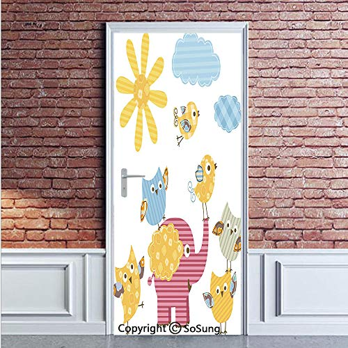 Nursery Door Wall Mural Wallpaper Stickers,Happy Animals Colorful Design Sun Clouds Cute Elephant Birds and Owls Decorative,Vinyl Removable 3D Decals 35.4x78.7/2 Pieces set,for Home Decor Marigold Pin