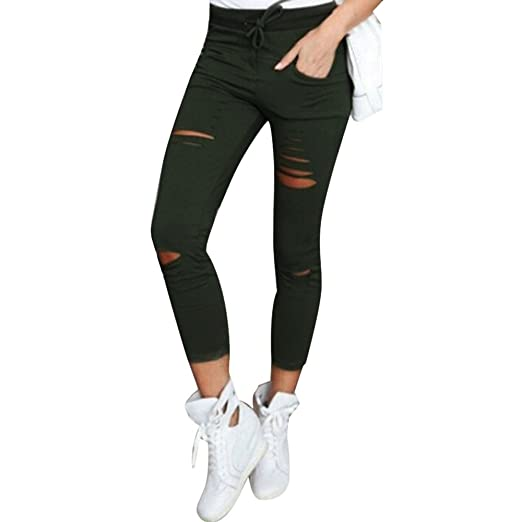 3de4efd195963 Kanzd Women Pants Women Skinny Ripped Pants High Waist Stretch Slim Pencil  Trousers (Army Green
