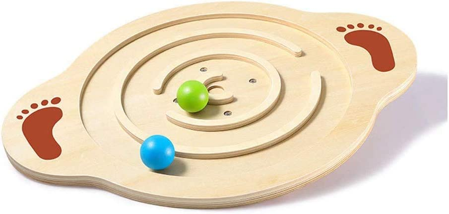 4cm Yoga balance board Jiamuxiangsi Balance Boards Wooden Non-slip Board Vestibular Sensory Training Equipment Child Baby Balance Board 47.5 36.5