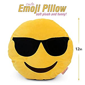 """Emoji Cute Pillow Cool Sunglasses Face - Yellow Stuffed Soft Plush Funny and Very Comfortable Set of All Collection - Perfect Fun Item for All Ages - House, Living Room, Sleep Bedroom 14"""" (35cm)"""