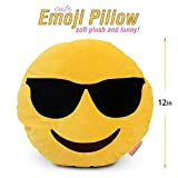 Emoji Pillow (Cool Face) Cartoon Sunglasses Face - Yellow Stuffed Cute Soft Plush Funny and Very Comfortable Set of All Collection - Perfect Fun Item - All Ages - House, Living Room, Sleep Bedroom