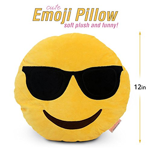 Emoji Cute Pillow Cool Sunglasses Face - Yellow Stuffed Soft Plush Funny and Very Comfortable Set of All Collection - Perfect Fun Item for All Ages - House, Living Room, - Sunglasses For The Face Right Your