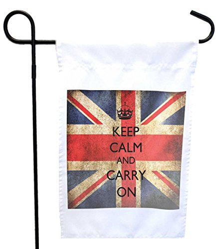 Rikki Knight Keep Calm & Carry on British Flag House or Garden Flag with 11 x 11-Inch Image, 12 x 18-Inch