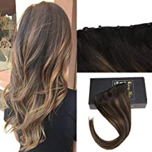 Sunny 16inch Micro Bead Weft Hair Extensions Color Darkest Brown Highlight with Medium Brown Easy Weft Micro Beads Hair Weft Remy Hair 50g/pack