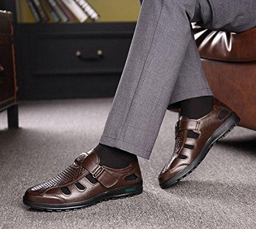 Zapatos Sandalias Playa Transpirable Verano Brown Hombres Fondo Los Cuero Casual De Suave qwZz4