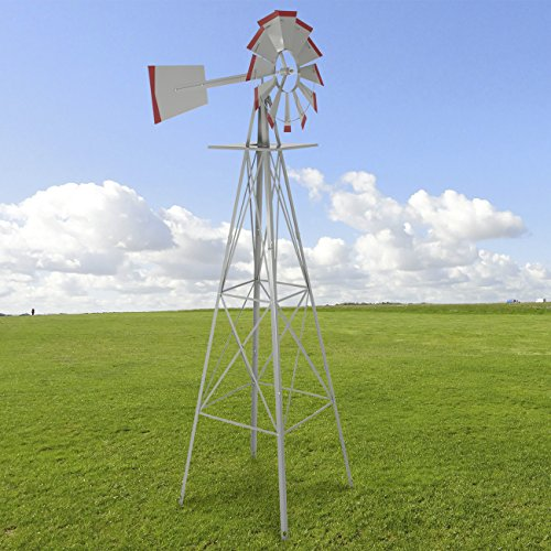 Best Choice Products 8ft Steel Windmill Decoration for Home, Garden, Yard w/ 4-Leg Design - Silver/Red by Best Choice Products