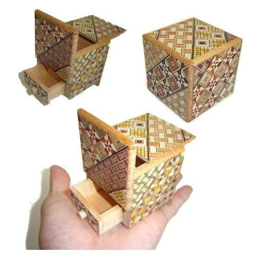 2 Sun 4 Steps Cube Secret DRAWER - Japanese Puzzle Box (Japanese Steps Box Puzzle)