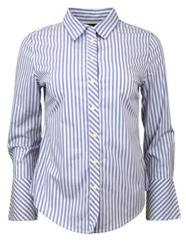 Banana Republic Womens Tailored Fit Poplin Bell-Sleeve Button Down Shirt Purple White Striped ()