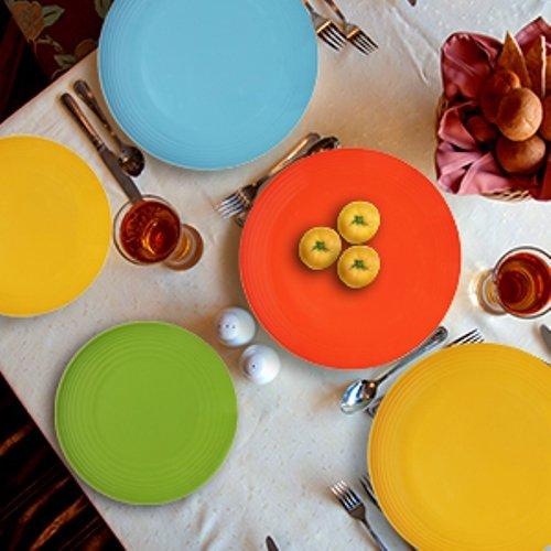 Melange 6-Piece  Melamine Dinner Plate Set (Solids Collection )   Shatter-Proof and Chip-Resistant Melamine Dinner Plates   Color: Multicolor by Melange (Image #2)