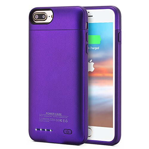Battery Case iPhone 7 Plus, 4200mAh Ultra Slim Battery Charger Case for iPhone 7 Plus, External Juice Pack Charger Case for iPhone 8 Plus/7 Plus/6 Plus (Purple)