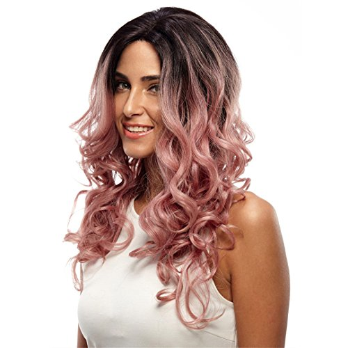 Trendy Lace Front Wig Fiber Loose Wave Synthetic Hair Wigs For Black Women Color 1B Pink Mixed Cosplay Wig Light Pink 130% Lace Front