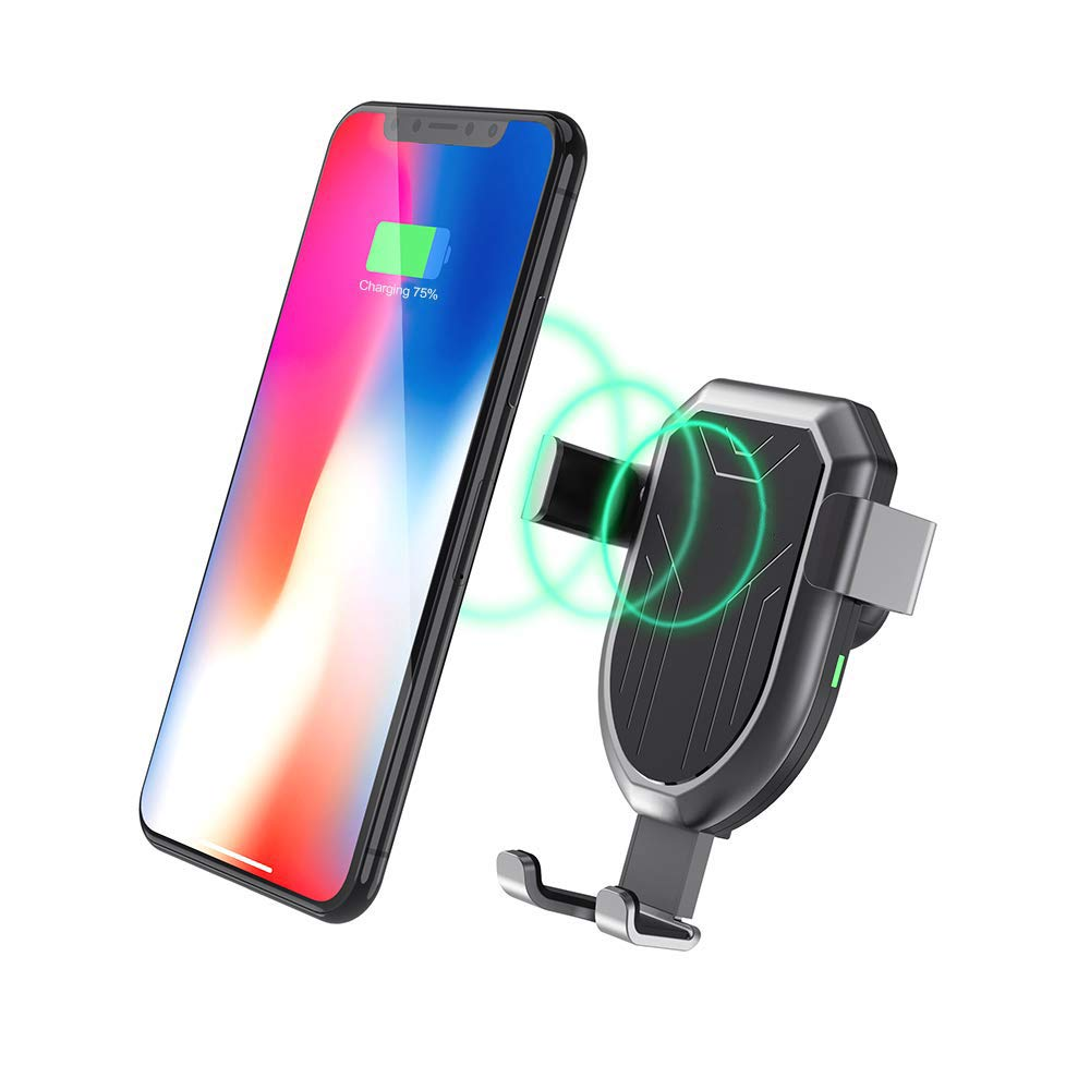 iPhone Xs Max XR X 8 Plus Automatic Clamping Gravity Sensor Car Phone Mount Akale Wireless Car Charger Mount 10W 7.5W Qi Fast Charging Air Vent Phone Holder Compatible with S10+ S10e S9 Note 9