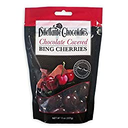 Chocolate Covered Bing Cherries in Premium Chocolate - 8 oz Pouches - by Dilettante (3 Pack)