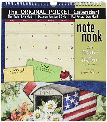 """Wells Street by LANG - 2018 Note Nook Wall Calendar - """"Heart & Home"""" Artwork by Susan Winget - 12 Month Pocket Calendar, 11.75"""" x 13.25"""""""