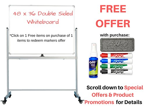 OfficeGenius Mobile Whiteboard on Wheels with Stand, 48x36 White Board, Magnetic Double Sided Dry Erase Marker Board w/Quick Flip Reversible Portable Standing Easel for Classrooms, Offices, (Mobile Supply)