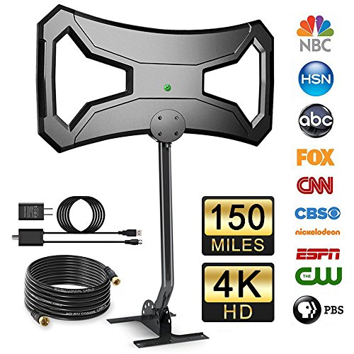 - Outdoor Amplified HD Digital TV Antenna with Pole Mount, UniTek Omni-Directional 150 miles range HDTV Antenna with 30FT RG-6 Cooper Cable 4K Ultra HD Free Channels for VHF/UHF