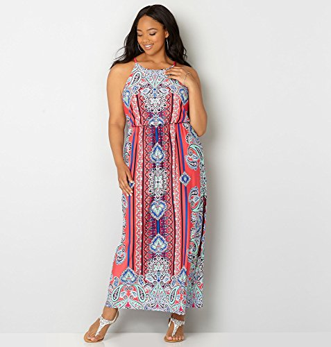 AVENUE-Womens-Paisley-Blouson-Maxi-Dress