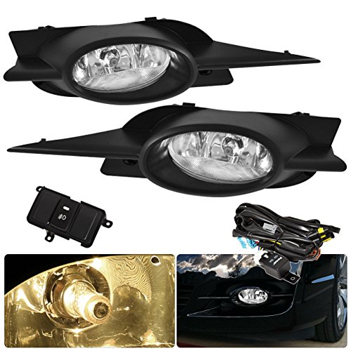 Honda Civic 2 Door Coupe Fg1 Fg2 Jdm Vip Clear Fog Light Lamp Lens Assembly Complete Kit Driving Front Bumper Conversion Harness Switch Lh Rh Pair (Vip Front Bumper)