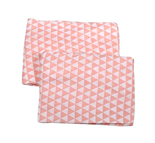 Bacati Aztec/Tribal Crib/Toddler Bed Fitted Sheets Cotton Muslin 2 Piece, Coral
