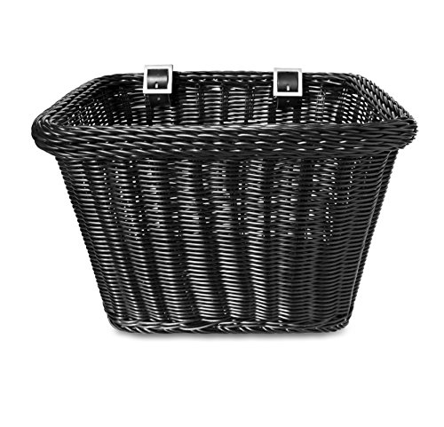 Colorbasket 00702 Rectangular Front Handle Bar Adult Bike Basket, All Weather, Water Resistant, Adjustable Leather Straps, Food-Contact Safe, Black ()
