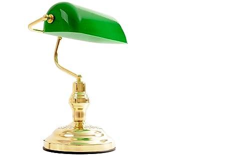 Lampe De Bureau Banquier Avec Abat Jour En Verre Vert Amazon Fr