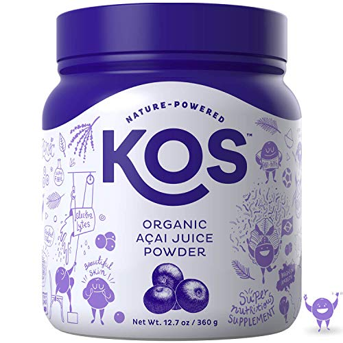 KOS Organic Açaí Juice Powder | Natural Antioxidant Superfood Açaí Juice Powder | Polyphenol Abundant, Anti-Aging, USDA Organic, Non-GMO Plant Based Ingredient, 360g, 120 Serving