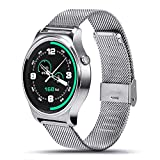 SEPVER All-in-1 GW01 Smart Watch Full Round IPS Screen Bluetooth 4.0 Heart Rate Monitor Pedometer compatible with iPhone 7 iPhone 6s iPhone 6 and Android smart phone (Silver Metal)