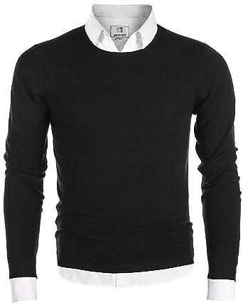 5a1bc713199d MOCOTONO Men's Long Sleeve Crew Neck Pullover Knit Sweater at Amazon ...