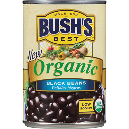 Vegan Black Beans - Bush's Best Organic Black Beans, 15 oz (12 cans)