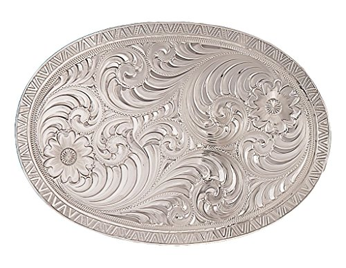 Montana Silversmiths Men's Oval Engraved Western Belt Buckle Silver One Size ()